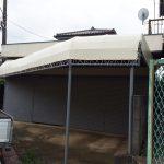 坂戸市で個人宅デザインテント張替工事をしました。